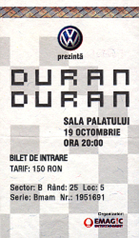 Ticket duran duran hhhhh