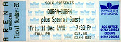 Duran duran ticket Plymouth Pavilions concert ticket