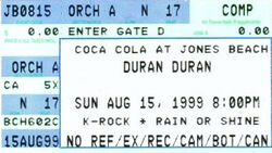 DURAN DURAN TICKET JONES BEACH Let it Flow 1999 usa