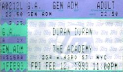 Duran duran ticket 12 feb 1993 An Acoustic Evening with duran Duran 1993