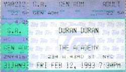 Duran duran ticket 7.30pm new york An Acoustic Evening with duran Duran 1993