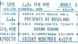 DURAN DURAN TICKET Roseland Ballroom, New York, NY, USA