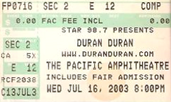Ticket duran duran pacific amphitheatre 16 jul 2003