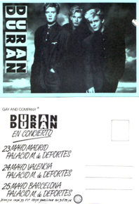 Duran duran spanish promo tour card