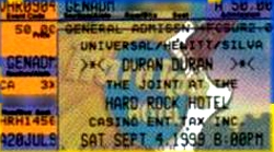 Duran duran ticket The joint, Las Vegas , Nevada , USA 04-09-99 a