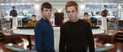 Kirk and Spock alt on bridge