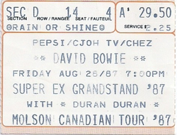 Ticket duran duran super ex grandstand 28 August 1987