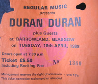 TICKET duran duran 18 APRIL 89 glasgow barrowland 1