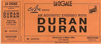 Ticket duran duran paris la cigale 1993 14 march