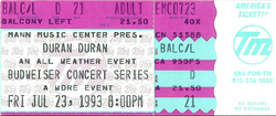 Ticket duran duran 23 july 1993