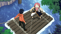 Natsu trapped by Gray