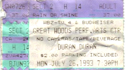 Ticket duran duran great woods performing arts 26 july 1993