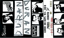 Ticket duran duran ticket Paris Zenith 20 september 1993