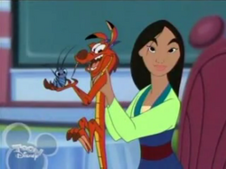 Cri-Kee, Mushu and Mulan in the House of Mouse