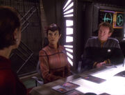 Senator Cretak, Colonel Kira and Chief O'Brien meeting