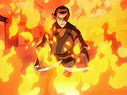 Zuko surrounded by flames