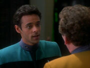 Doctor Bashir asks Replicant O'Brien for a physical