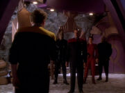 Replicant O'Brien walks in on Sisko, Kira and Paradan Rebels