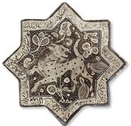 Kashan lustre-decorated star tile, Central Persia, circa 1300, Christie&#39;s sale 2835 Dec. 2009