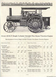 Avery Catalog 65hp Single Cylinder Staight Flue Steam Engine
