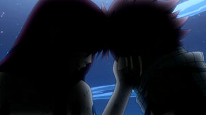 Erza comforting Natsu