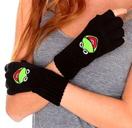 Hot topic kermit fingerless gloves