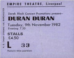 Ticket duran duran 9 november 1982 liverpool