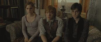 Harry, Ron and Hermione during the reading of Dumbledore's will