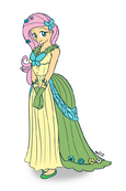 Humanized fluttershy in dress by empty 10-d39ve23