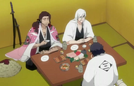 Ukitake, Kyoraku, and Amagai drinking