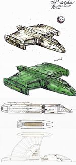 Romulan scout ship design sketches by Rick Sternbach