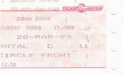 London duran duran ticket
