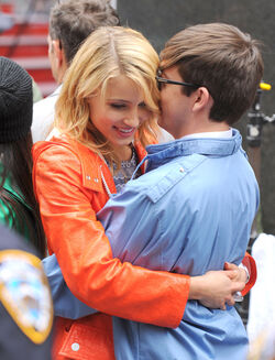 Dianna Agron and Kevin McHale in Times Square on April 25, 2011