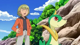 [Express] Pokémon: Best Wishes! EP694_Servine_junto_a_Trip