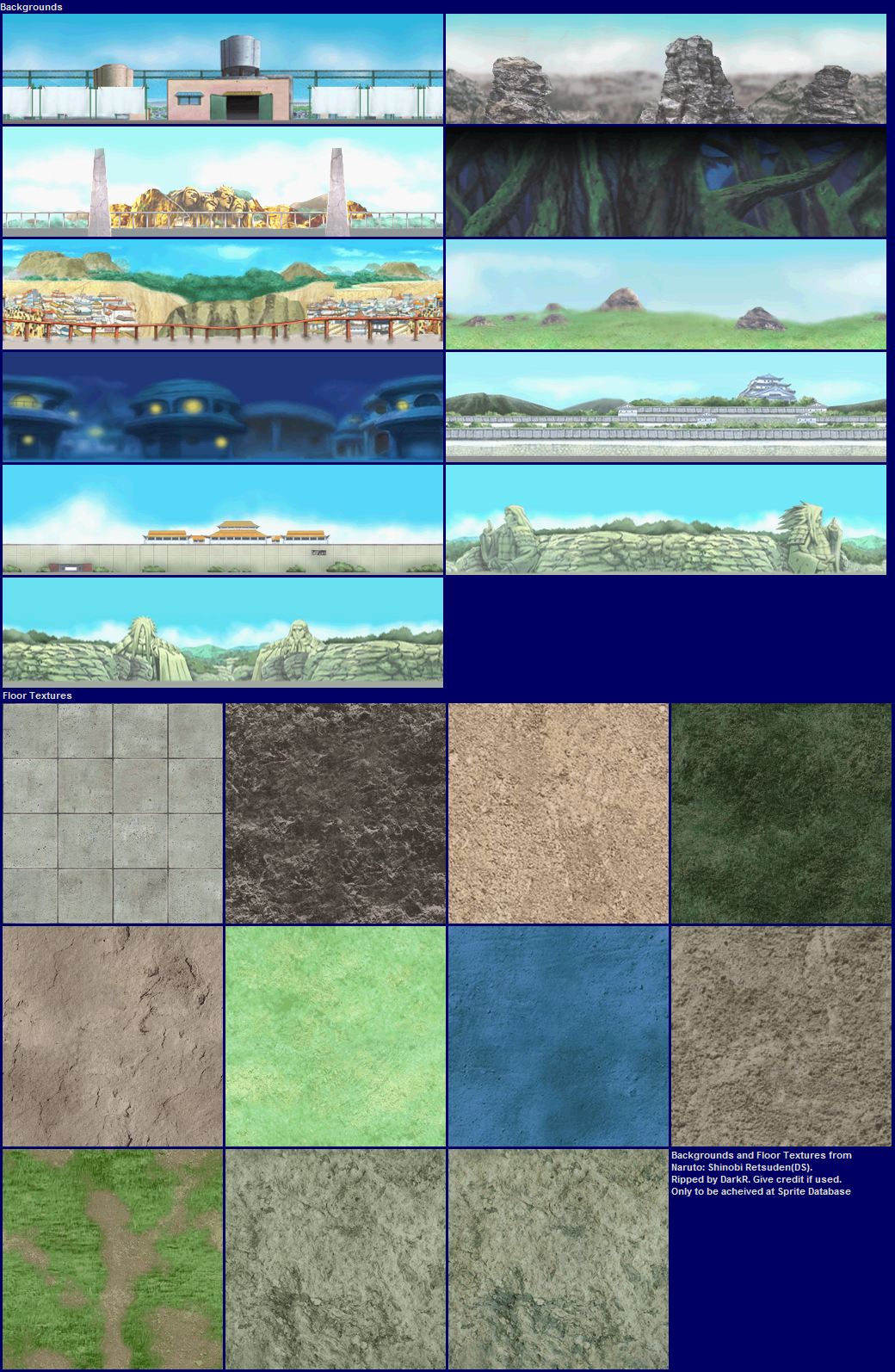 Background Sprite Sheets http://narutospritesheetdatabase.wikia.com/wiki/File:BackgroundsFloorTextures-SR1.png
