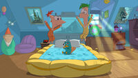 Phineas and Ferb in their bedroom