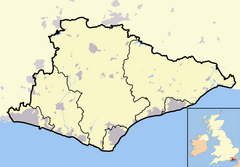 East Sussex outline map with UK