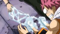 Natsu trapped by Gray&#39;s ice