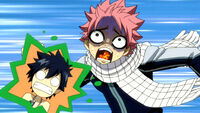 Natsu seeing two Erza&#39;s