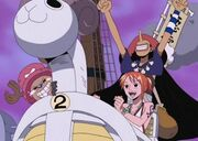 Nami, usopp y Chopper en el Mini Merry