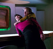 Barclay grabs holographic Riker