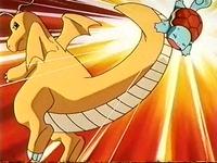 Dragonite de Drake usando portazo contra el Squirtle de Ash.