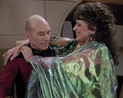 Lwaxana and Picard on the bridge