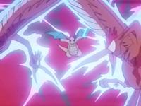 Dragonite de Lance usando onda trueno en unos Fearow.
