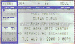 Ticket 8 august 2000 new jersey pnc arts center duran duran discogs on twitter music.com amazon