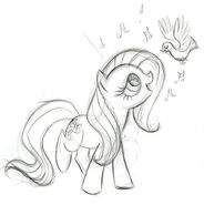 Fluttershy Singing to Birds Sketch