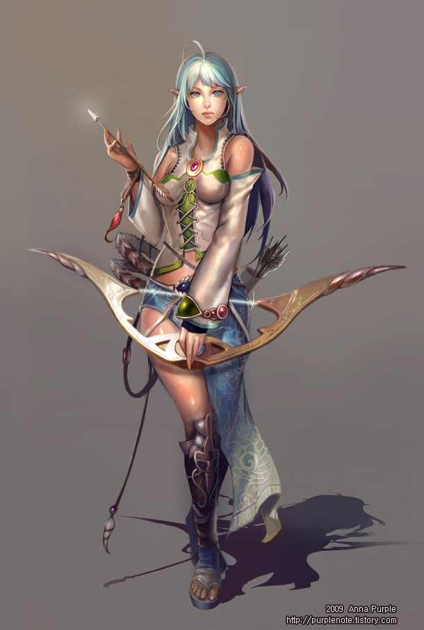 610x907 1005 Myo 2d Illustration Character Archer Girl Female Woman ...