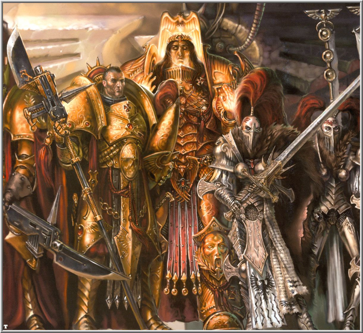 Grande Croisade - Page 5 20111125223250!God_Emperor_with_Adeptus_Custodes_and_Slient_Sisters
