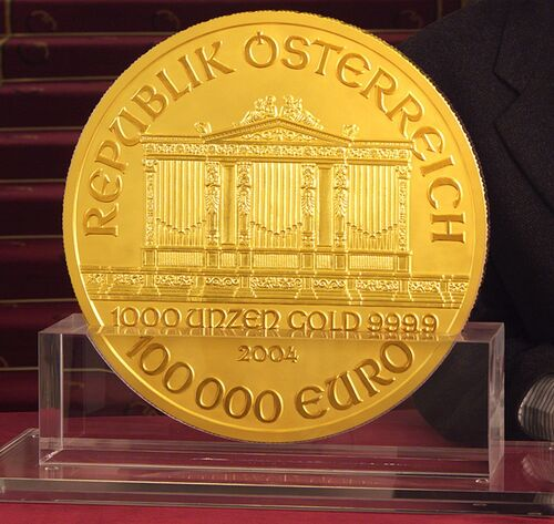austrian 100 000 euro coin currency wiki the online. Black Bedroom Furniture Sets. Home Design Ideas