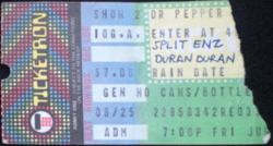 Ticket duran duran Dr. Pepper Summer Concerts, (26 june 1982) Pier 42, New York, NY, USA with Split Enz